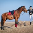 Stock Photo: Horse and rider on sky background