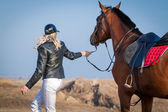 Horse and rider — Stock Photo