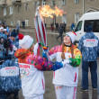 Stock Photo: January 11, 2014, Saratov, Russia. Olympic Torch Relay Sochi 2014