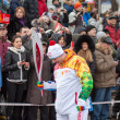 Stock Photo: January 11, 2014, Saratov, Russia. Olympic Torch Relay Sochi 2014. Member of relay waits for his turn