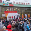 Stock Photo: January 11, 2014, Saratov, Russia. Meeting Olympic Torch Relay Sochi 2014 at railway station
