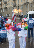 January 11, 2014, Saratov, Russia. Olympic Torch Relay Sochi 2014 — Stock Photo