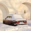 Abandoned car in winter - Stock Photo