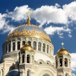 Golden domes of the orthodox temple — Stock Photo