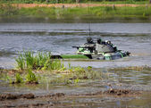 Infantry combat vehicle in water — Stock Photo