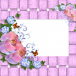 Pink orchids border — Stock Photo