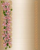 Wedding invitation Gold satin lily — Stock Photo