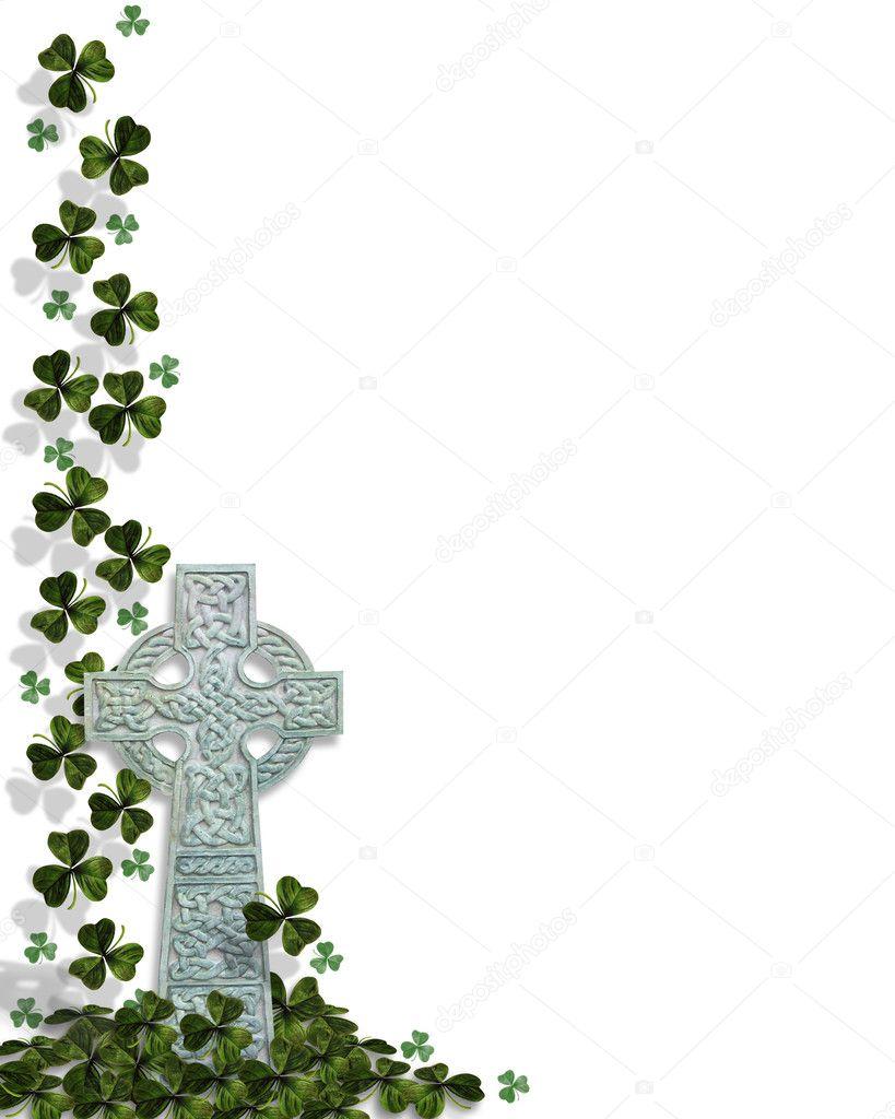 Celtic Cross With Shamrock St patricks day celtic cross