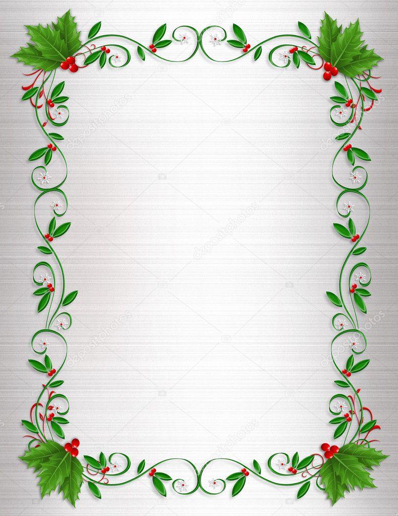 Christmas Holiday Borders Christmas holly border