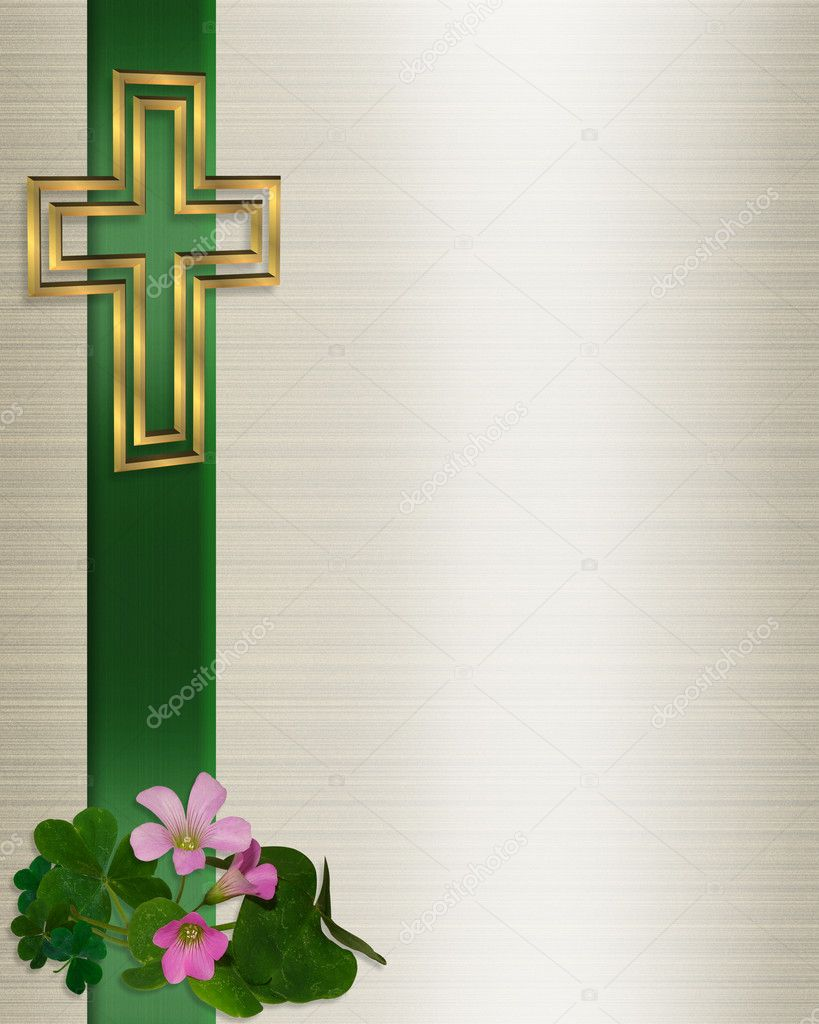 Religious Easter Borders Wedding invitation christian