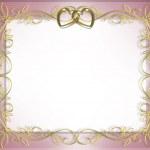 Satin and gold hearts wedding invitation — Stock Photo #2241473