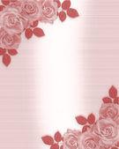 Růžové růže svatební pozvánky — Stock fotografie
