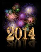 New Year 2014 digital fireworks — Stock Photo