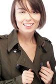 Vrouw in jas portret — Stockfoto
