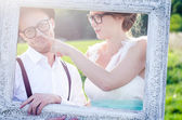 Happy cuople on e-session — Stockfoto