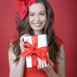 Young woman holding Gift box — Stock Photo #18282089