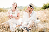 Happy couple embracing and laughing — Foto Stock