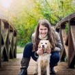 Young woman with dog — Stock Photo #23005136