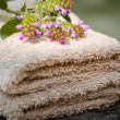 Brown spa towels and flowers — Stock Photo