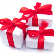 White gift box with red ribbon — Stock Photo #28750767