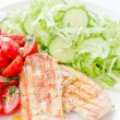Fresh salad with chicken breast,lettuce and tomatoes — Stock Photo #28753005