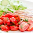 Fresh salad with chicken breast,lettuce and tomatoes — Stok fotoğraf #28753335