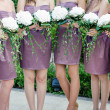 Row of bridesmaids with bouquets at wedding ceremony — Stock Photo #28754775