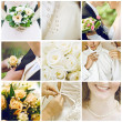 Collage of nine wedding photos — Stock Photo