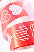 Red heart ribbon — Stock Photo
