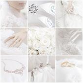 Dokuz düğün fotoğrafları kolaj bir — Stok fotoğraf