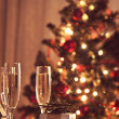 Stock Photo: Decorated christmas dining table with champagne glasses