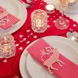 Stock Photo: Christmas table setting in red and white