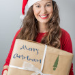Christmas woman holding gifts wearing Santa hat — Stock fotografie