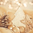 Decorative gold christmas ornament — Stock Photo
