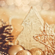 Decorative gold christmas ornament — Stockfoto