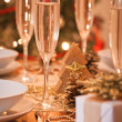 Beautiful gold place setting for Christmas — Foto Stock