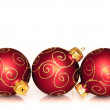Three red christmas balls isolated on white background — Stock Photo #28763065