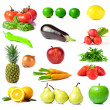 Set of fruits and vegetables isolated on white background — Stockfoto