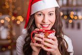 Young Girl preparing for Christmas — Stock Photo