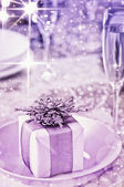 Beautiful place setting for Christmas — Stock Photo
