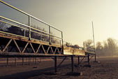 Bleachers of School Football Stadium — Stock Photo