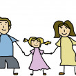 Happy family holding hands and smiling together — Stock Photo