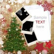 Christmas greeting card with decorations — ストック写真