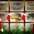 Idyllic view through the window at snowy night, christmas decoration — Stock Photo