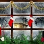 Idyllic view through the window at snowy night, christmas decoration — Stock Photo #28772413