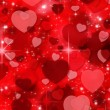 Red Valentine's day background with hearts — Stockfoto