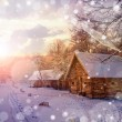 House in snow fairy forest — Stock Photo