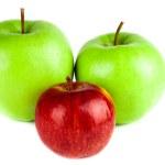 rosso e verde mela isolato su sfondo bianco — Foto Stock #28776075