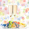 New years decoration on white background- champagne — Stock Photo