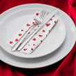 Stock Photo: Romantic Dinner.Place setting for Valentine's Day